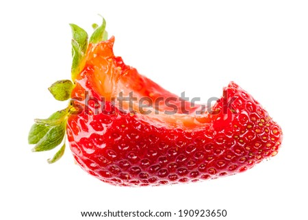 a ripe strawberry with a bite mark isolated over a white bachground