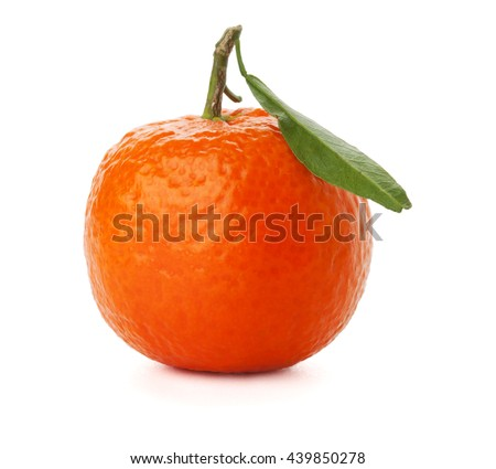 A ripe tangerine with green leaf. Isolated on white - stock photo