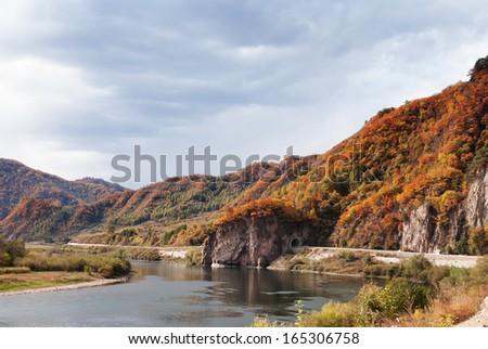 a river beside road, Jilin Province, China - stock photo