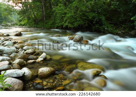 A river picture captured with a long exposure technique