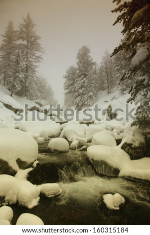 a river running among stones in the Altai Mountains - stock photo