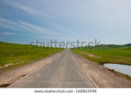 a road in prairie, Inner-Mongolia, China