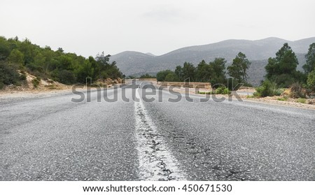 A road in the Reef mountains in Morocco