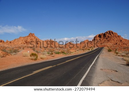A road in Valley of Fire State Park. - stock photo