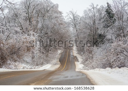 A road in winter after an ice storm.