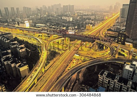 A road junction at evening in changsha ,china - stock photo