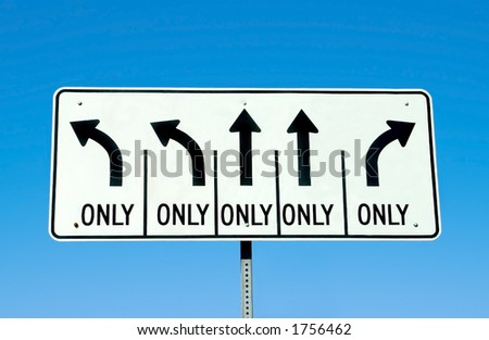 A road sign depicting many choices. - stock photo