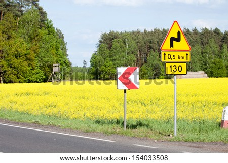 A road sign turns - stock photo
