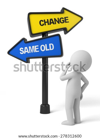 A road sign with change same old words. 3d image. Isolated white background - stock photo