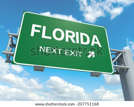 A road sign with florida words on sky background