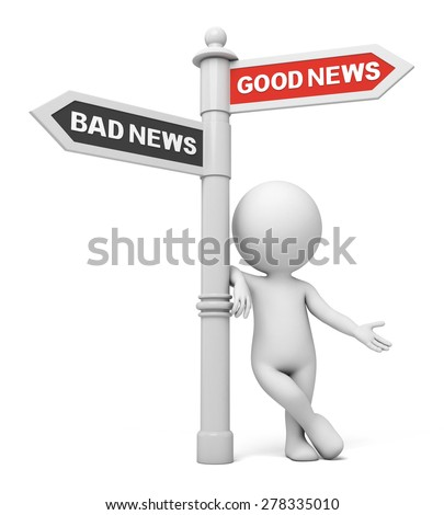 A road sign with good news bad news words . 3d image. Isolated white background