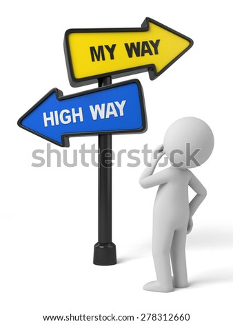 A road sign with my way high way words. 3d image. Isolated white background - stock photo