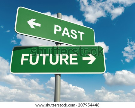 A road sign with past future words on sky background  - stock photo