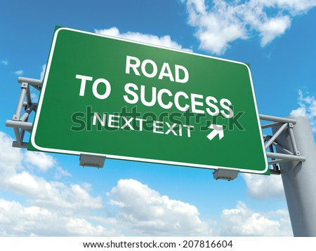 A road sign with road to success words on sky background  - stock photo
