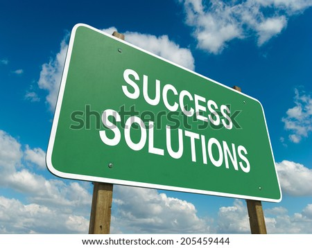 A road sign with success solutions words on sky background  - stock photo