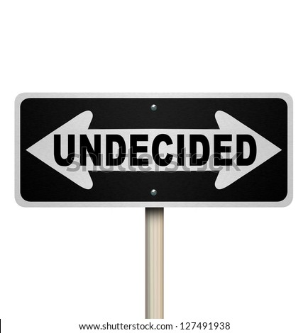 A road sign with the word Undecided and arrows pointing left and right to represent indecision and confusion in trying to reach a difficult decision - stock photo