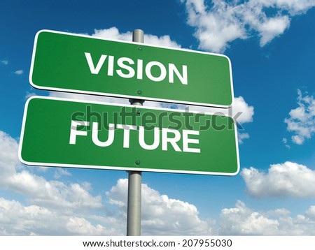 A road sign with vision future words on sky background  - stock photo
