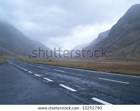 A road through the Scottish Highlands - stock photo