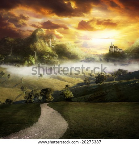 A road to a fantasy landscape with a castle on a hill