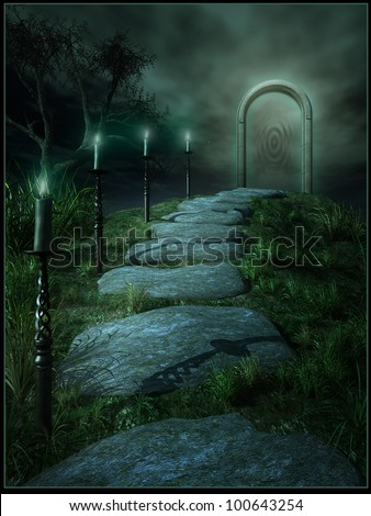 A road to magic portal  with candles - stock photo