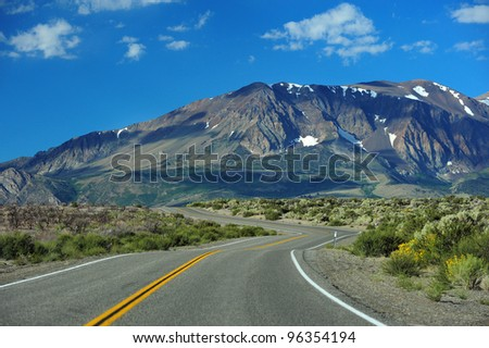 a road to sierra nevada mountain in california