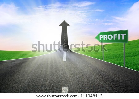 A road turning into an arrow rising upward with a road sign of profit, symbolizing the way to improve the profit