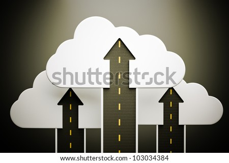 a roads up with a clouds as a concept - stock photo