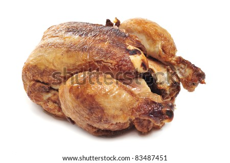 a roast chicken on a white background