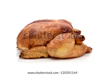 a roast turkey or a roast chicken on a white background