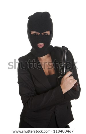 a robber pointing his gun, and for silence