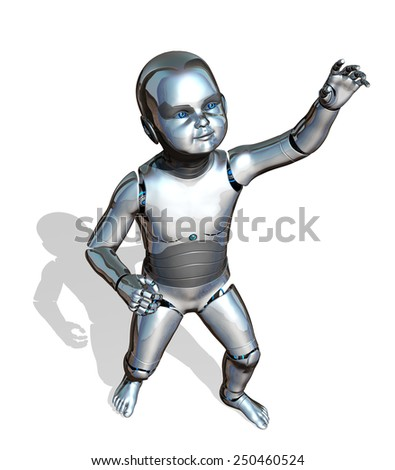 A robo-baby is reaching up - emerging new technology - 3d render. - stock photo