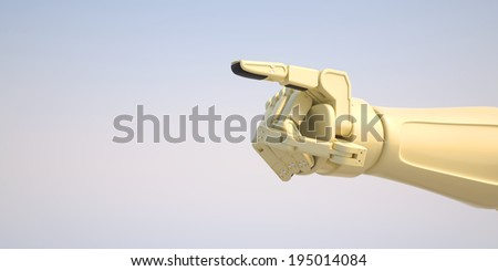 A robot pointing with his index finger a symbol for dictation of technology