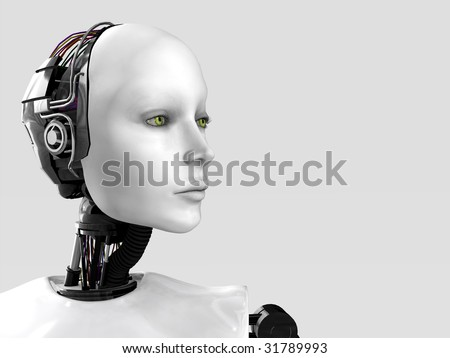 A robot woman head isolated on white background. - stock photo