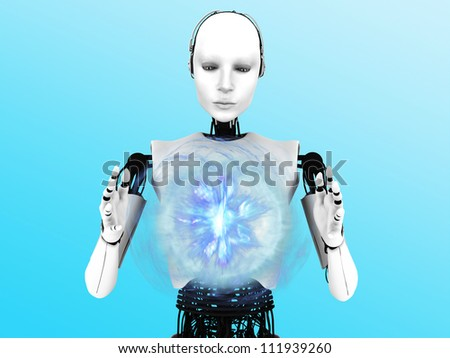 A robot woman holding a glowing plasma sphere of energy between her hands.
