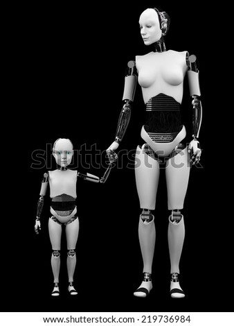 A robot woman holding hand with her robot child. Black background.