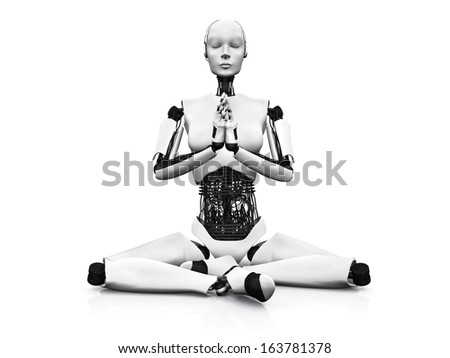 A robot woman sitting on the floor and meditating, eyes closed. White background.