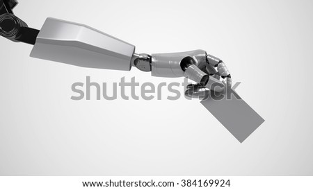A robotic mechanical arm with business card. Strong stylish futuristic design concept. Cybernetic organism with Artificial Intelligence.