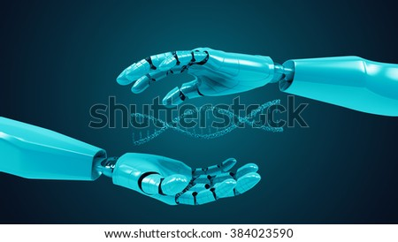 A robotic mechanical arm with DNA. Strong stylish futuristic design concept. Cybernetic  organism with Artificial Intelligence.