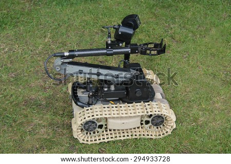 A Robotic Remote Control Army Bomb Disposal Device. - stock photo