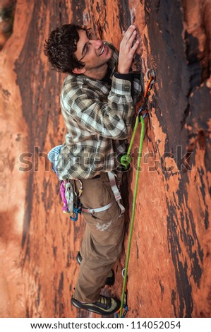 A Rock Climber in Red Rocks, Nevada - stock photo