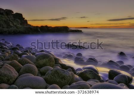 A rocky beach at Acadia National Park.   - stock photo