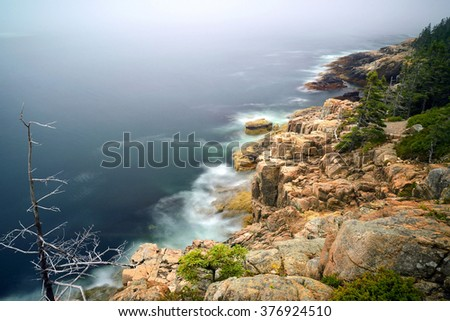 A rocky shoreline with distant fog and trees at Acadia National Park, ME, USA - stock photo