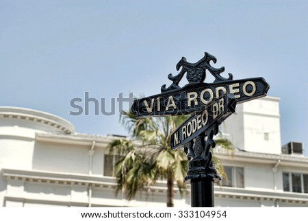 A Rodeo Drive sign in Beverly Hills on a sunny day. - stock photo