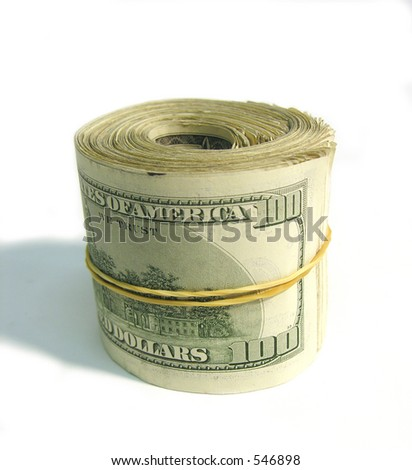 A roll of one hundred dollar bills