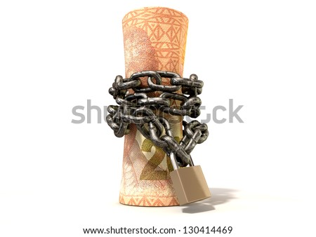 A rolled up two hundred rand note wrapped with chains and secured with a padlock on an isolated background