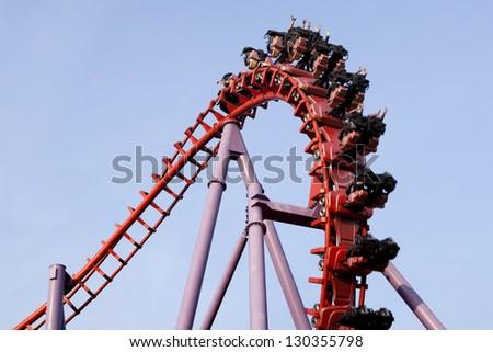 A roller coaster ride - stock photo