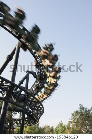 a rollercoaster, for people who likes strong emotions - stock photo