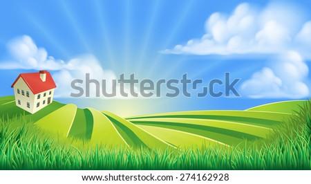 A rolling hills fields farm sunrise background cartoon illustration - stock photo