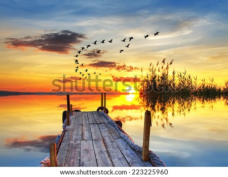 a romantic corner in the colorful lake - stock photo