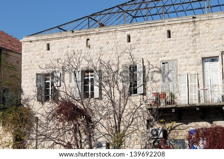 A roofless old Lebanese house in Jounieh city.  - stock photo